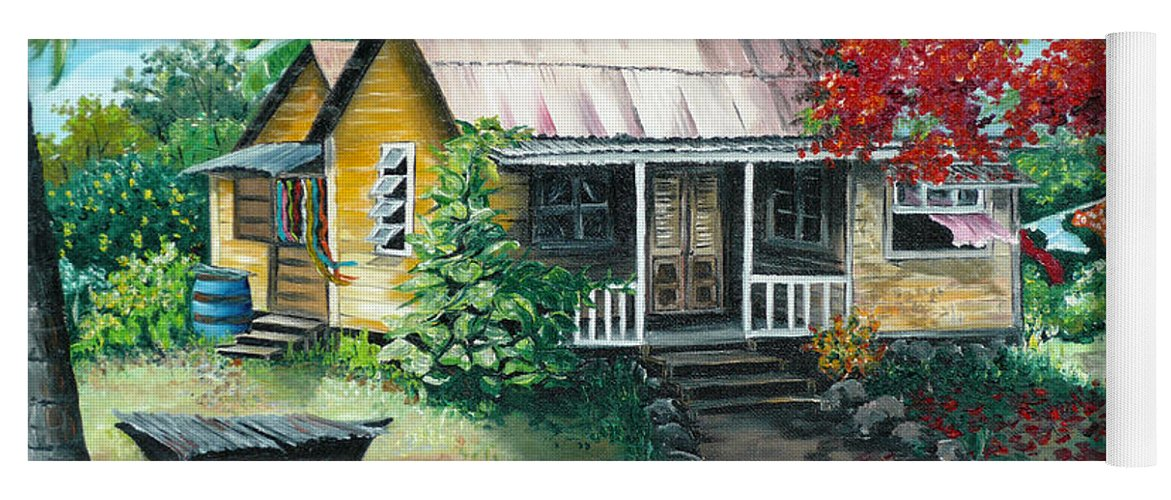 Landscape Painting Caribbean Painting Tropical Painting Island House Painting Poinciana Flamboyant Tree Painting Trinidad And Tobago Painting Yoga Mat featuring the painting Trinidad Life by Karin Dawn Kelshall- Best