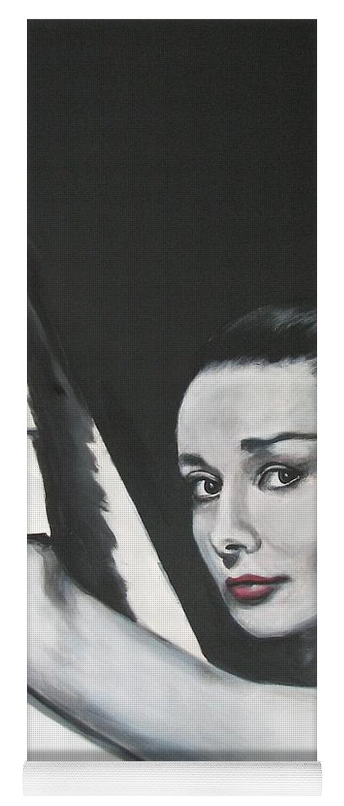 Audrey Hepburn Yoga Mat featuring the painting Audrey Hepburn by Eric Dee