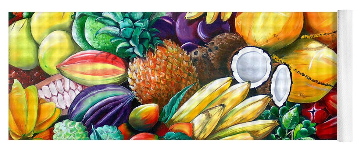 Caribbean Fruit Painting Tropical Fruit Painting Caribbean Pineapple Mangoes Bananas Coconut Watermelon Tropical Fruit Painting Yoga Mat featuring the painting A Taste Of The Islands by Karin Dawn Kelshall- Best