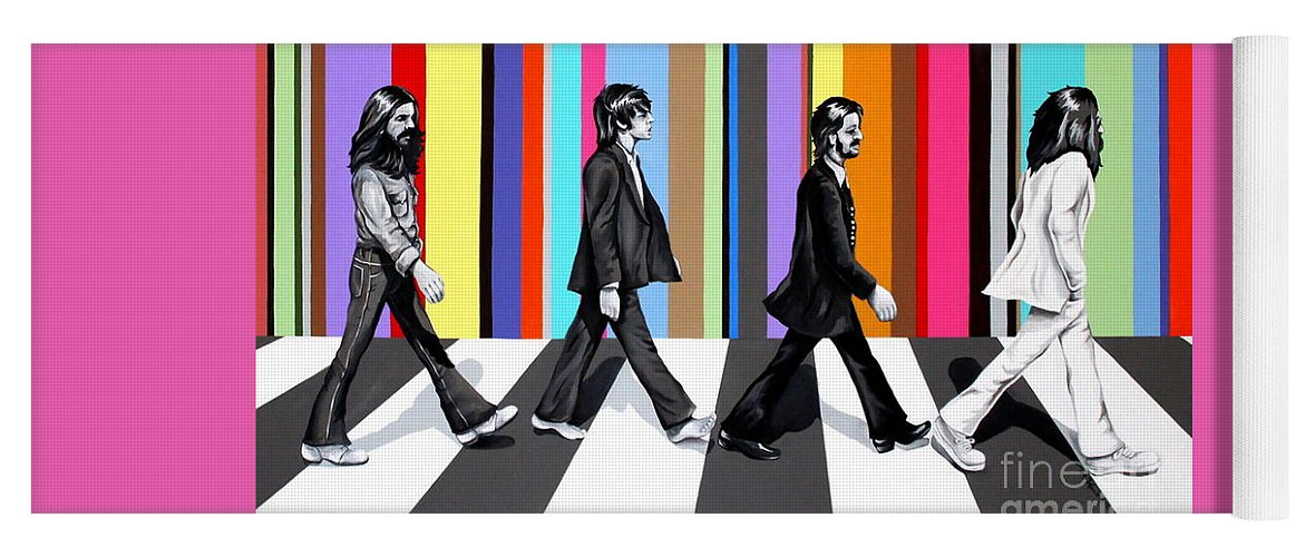 The Beatles Yoga Mat featuring the painting Abbey Road Technicolor by Amy Belonio