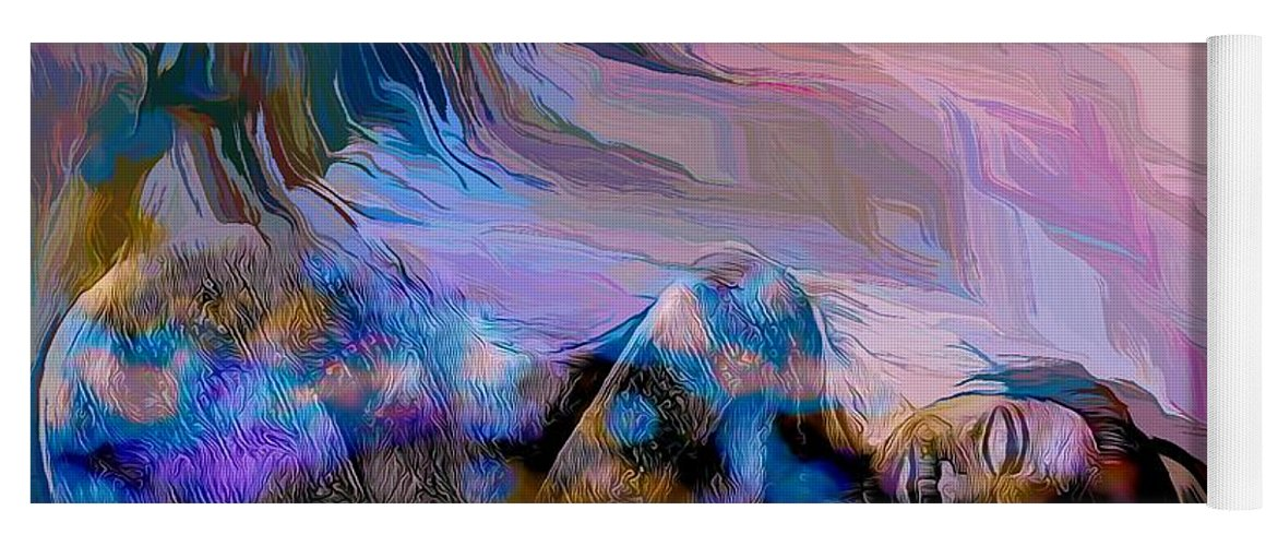 Modern Abstract Art Yoga Mat featuring the mixed media Abstract Island Girl Slumbering On The Beach by Joan Stratton