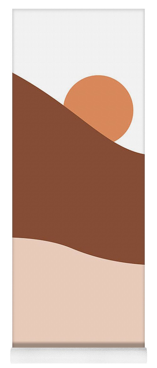 Mountains Yoga Mat featuring the mixed media Abstract Mountains 05 - Modern, Minimal, Contemporary Abstract - Terracotta Brown - Landscape by Studio Grafiikka