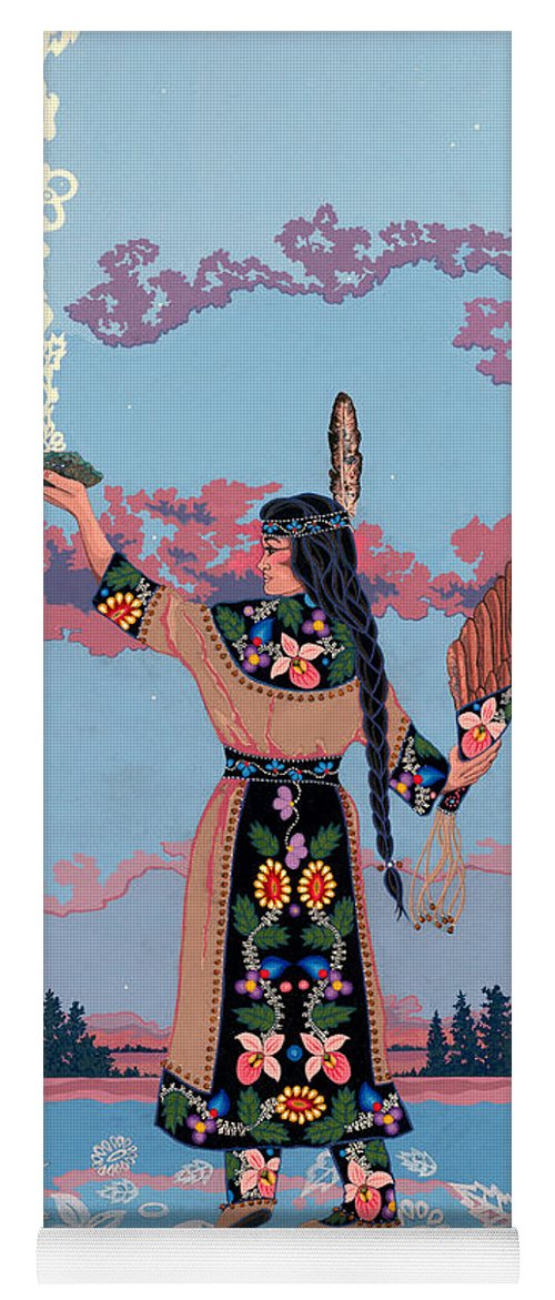 Native Woman Yoga Mat featuring the painting Agwamo - She Walks On Water by Chholing Taha
