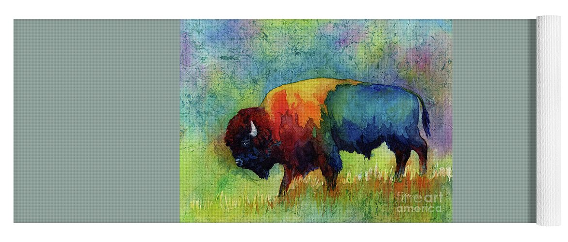 Bison Yoga Mat featuring the painting American Buffalo III by Hailey E Herrera