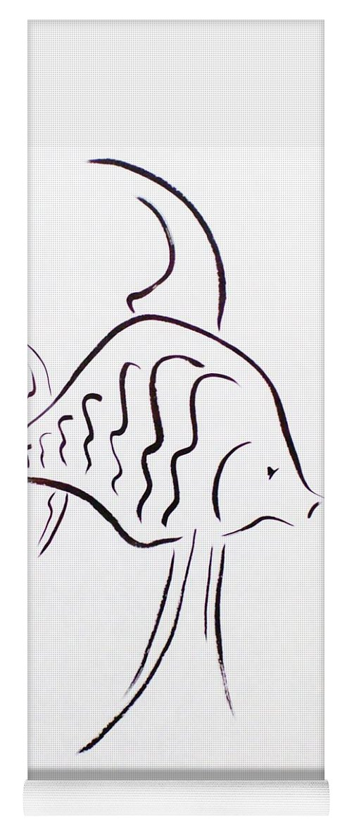 Fish Yoga Mat featuring the drawing Angel by Micah Guenther