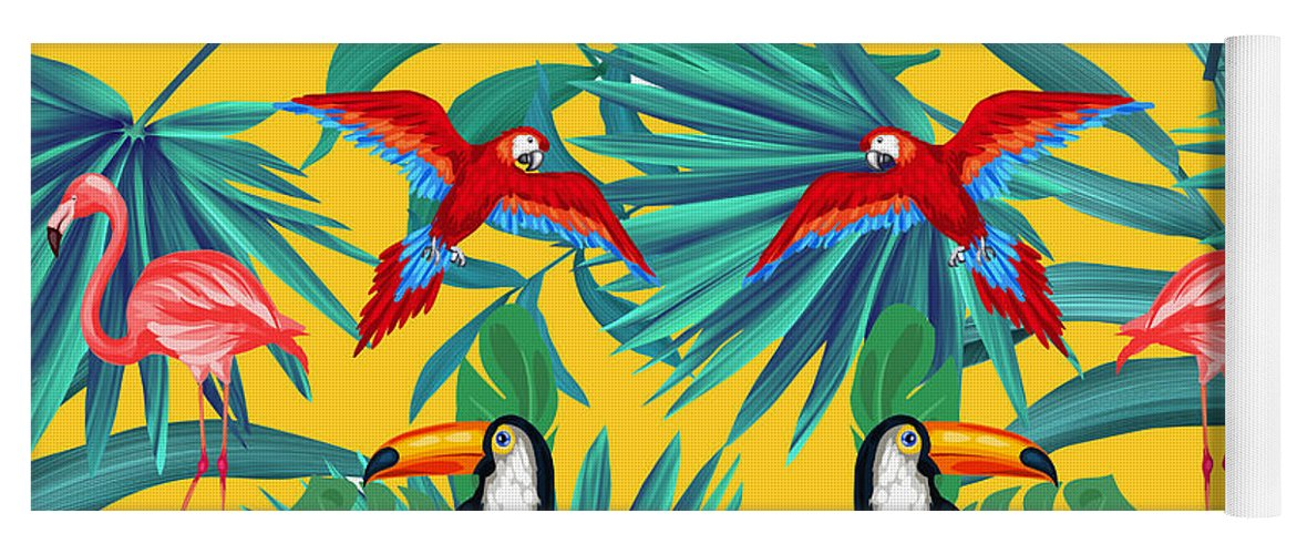 Parrot Yoga Mat featuring the digital art Yellow Tropic by Mark Ashkenazi