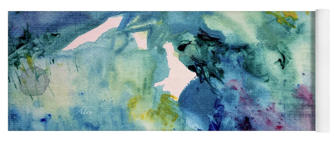 Blue Abstract Yoga Mat featuring the painting Ridges of Spring Light 6x6 Acrylic Watercolor #2 by Felipe Adan Lerma