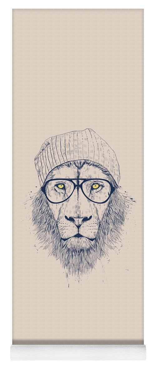 Lion Yoga Mat featuring the drawing Cool lion by Balazs Solti