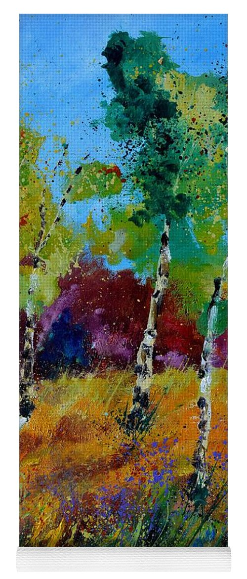 Landscape Yoga Mat featuring the painting Aspen trees in autumn by Pol Ledent