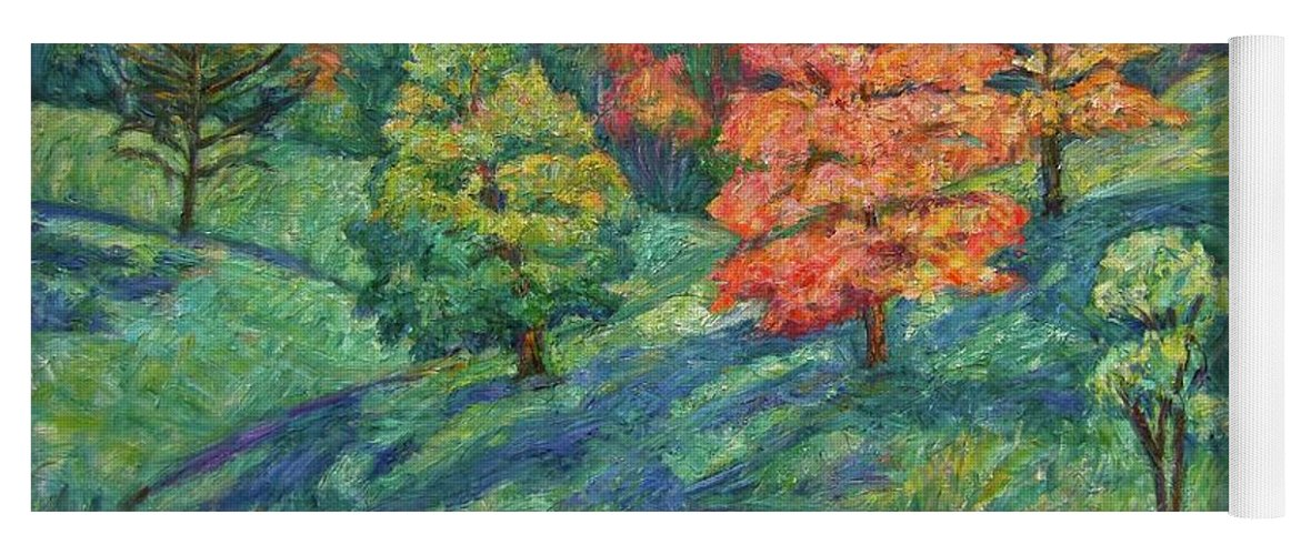 Landscape Yoga Mat featuring the painting Autumn Pond by Kendall Kessler