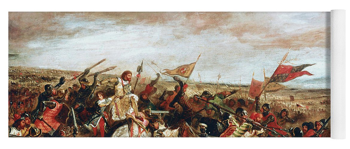 Poitiers Yoga Mat featuring the painting Battle of Poitiers on September 19, 1356 by Ferdinand Victor Eugene Delacroix