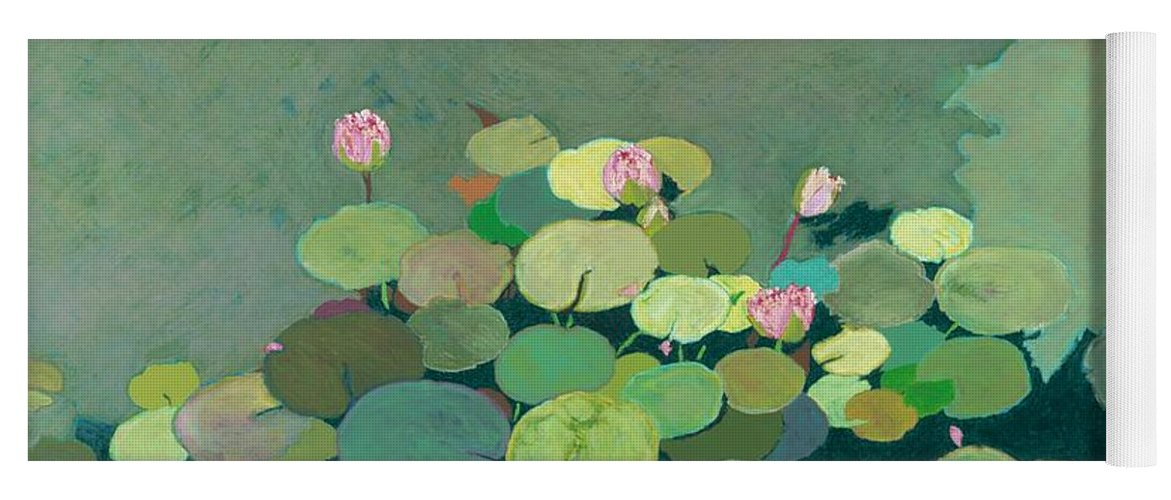 Landscape Yoga Mat featuring the painting Bettys Serenity Pond by Allan P Friedlander