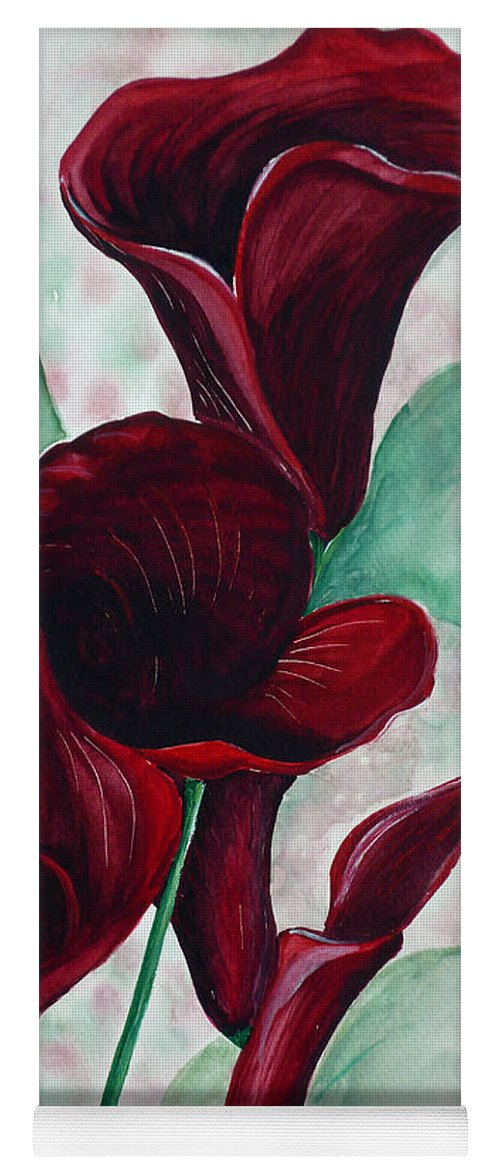 Flower Painting Floral Painting Botanical Painting Tropical Painting Caribbean Painting Calla Painting Red Lily Painting Deep Red Calla Lilies Original Watercolor Painting Yoga Mat featuring the painting Black Callas by Karin Dawn Kelshall- Best