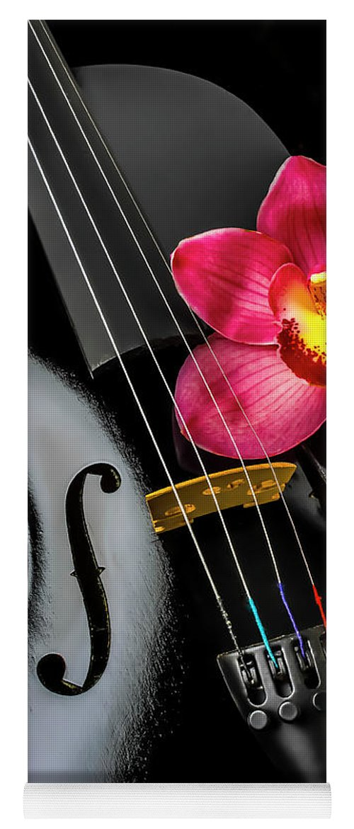 Violin Yoga Mat featuring the photograph Black Violin And Orchid Flower by Garry Gay