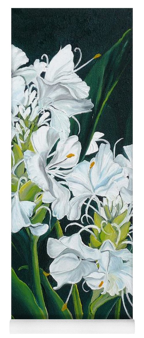 Caribbean Painting Butterfly Ginger Painting Floral Painting Botanical Painting Flower Painting Water Ginger Painting Or Water Ginger Tropical Lily Painting Original Oil Painting Trinidad And  Tobago Painting Tropical Painting Lily Painting White Flower Painting Yoga Mat featuring the painting Butterfly Ginger by Karin Dawn Kelshall- Best