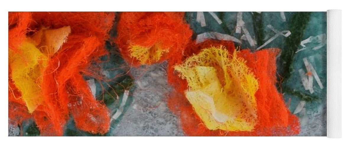 Dryer Sheets Yoga Mat featuring the mixed media Cactus Flowers by Charla Van Vlack