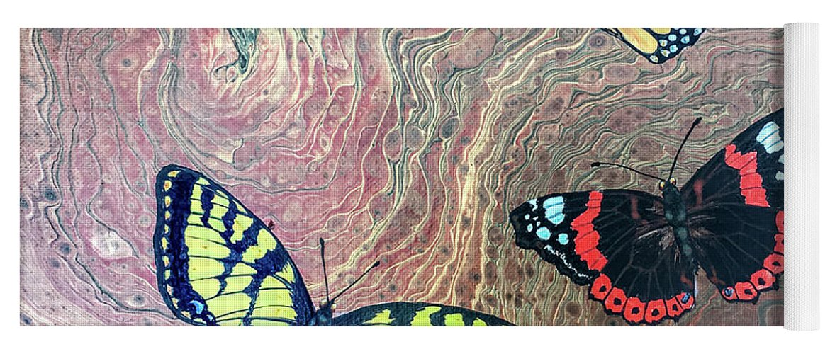 Butterflies Yoga Mat featuring the painting California Butterflies by Lucy Arnold