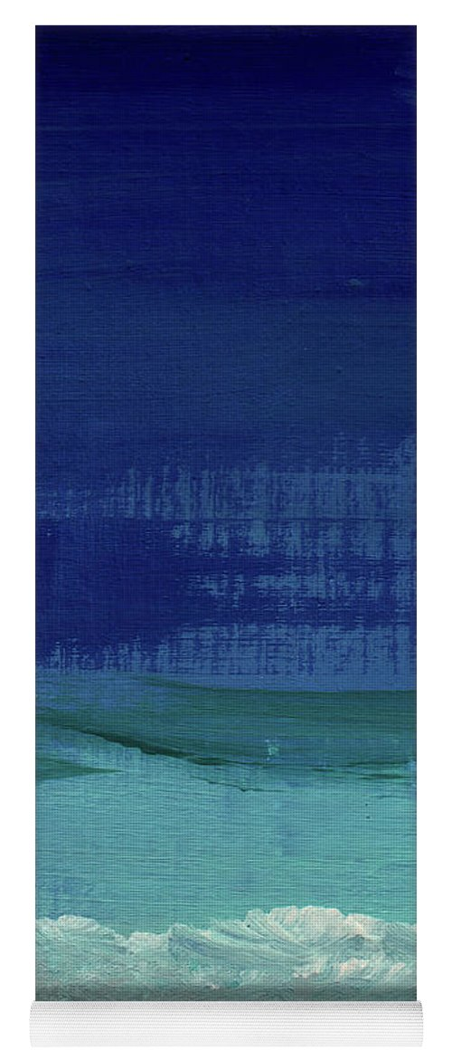 Abstract Art Yoga Mat featuring the painting Calm Waters- Abstract Landscape Painting by Linda Woods