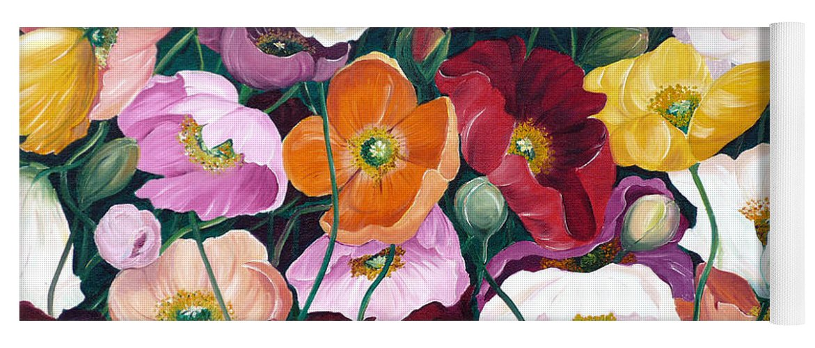 Flower Painting Floral Painting Poppy Painting Icelandic Poppies Painting Botanical Painting Original Oil Paintings Greeting Card Painting Yoga Mat featuring the painting Cascade Of Poppies by Karin Dawn Kelshall- Best