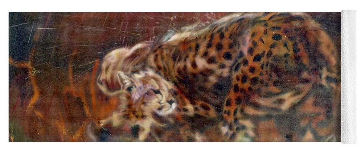Oil Painting On Canvas Yoga Mat featuring the painting Cheetah Family After The Rains by Sean Connolly