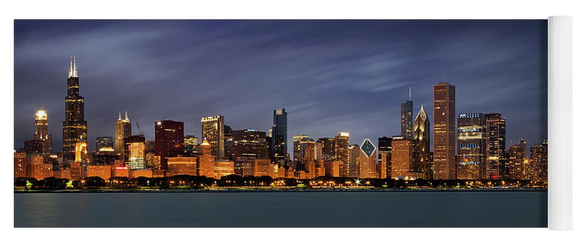 3scape Yoga Mat featuring the photograph Chicago Skyline at Night Color Panoramic by Adam Romanowicz