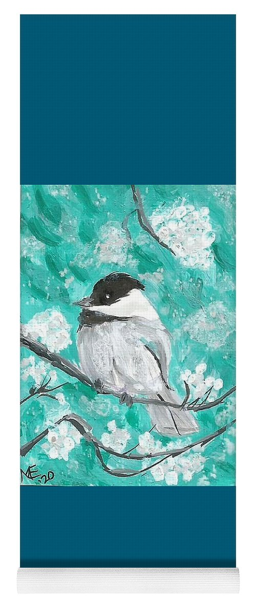 Chickadee Painting Yoga Mat featuring the painting Chickadee by Monica Resinger