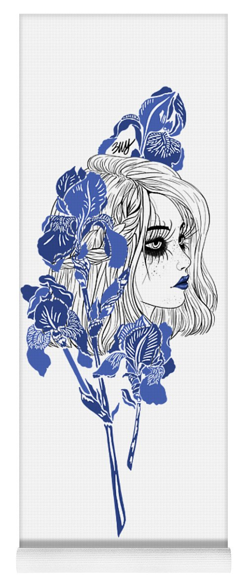 Digital Art Yoga Mat featuring the digital art China girl by Elly Provolo