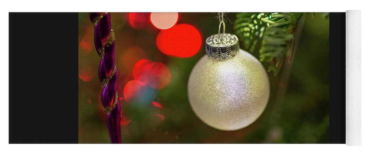 Ball Yoga Mat featuring the photograph Christmas Ornaments With Bokeh Background by Ognian Setchanov