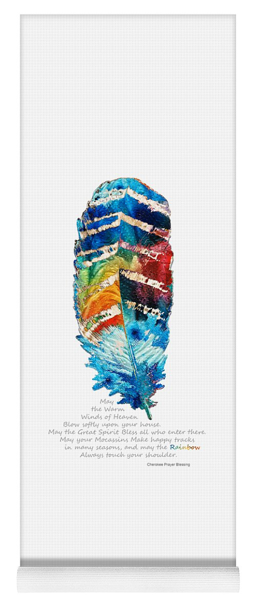 Feather Yoga Mat featuring the painting Colorful Feather Art - Cherokee Blessing - By Sharon Cummings by Sharon Cummings