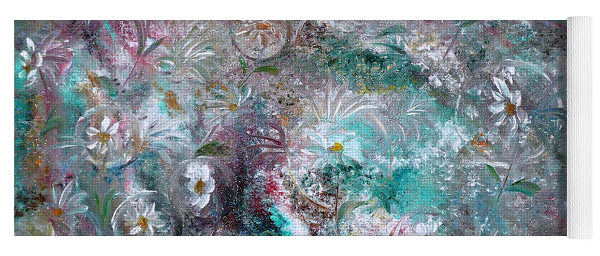 Original Flower Abstract Painting Yoga Mat featuring the painting Daisy Dreamz by Karin Dawn Kelshall- Best