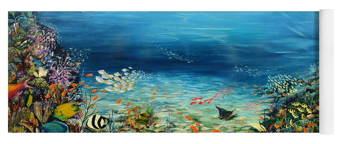 Ocean Painting Undersea Painting Coral Reef Painting Caribbean Painting Calypso Reef Painting Undersea Fishes Coral Reef Blue Sea Stingray Painting Tropical Reef Painting Tropical Painting Yoga Mat featuring the painting Deep Blue Dreaming by Karin Dawn Kelshall- Best