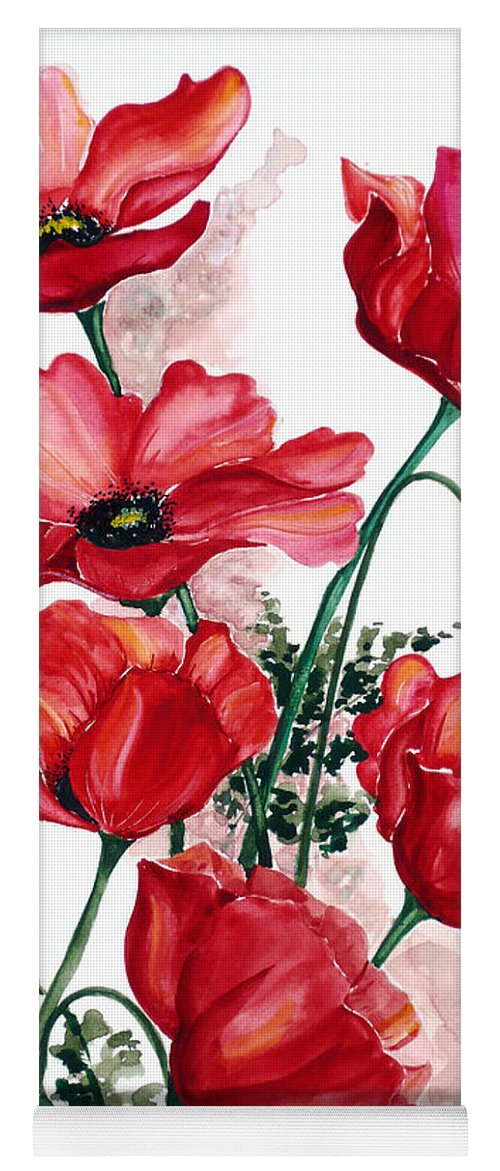 Original Watercolor Of English Field Poppies Painted On Arches Watercolor Paper Yoga Mat featuring the painting English Field Poppies. by Karin Dawn Kelshall- Best