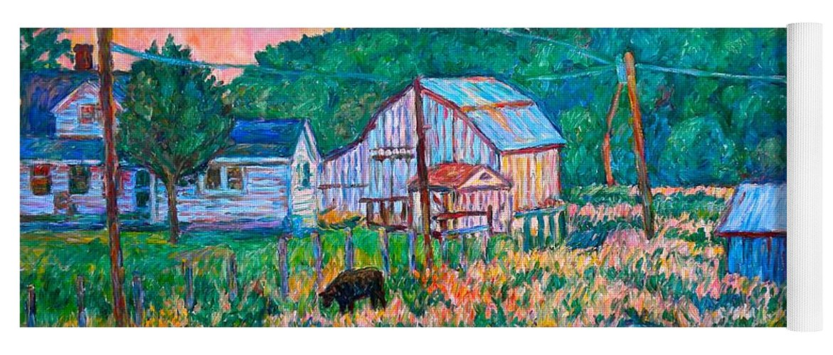 Landscape Yoga Mat featuring the painting Farm Near Fancy Gap by Kendall Kessler