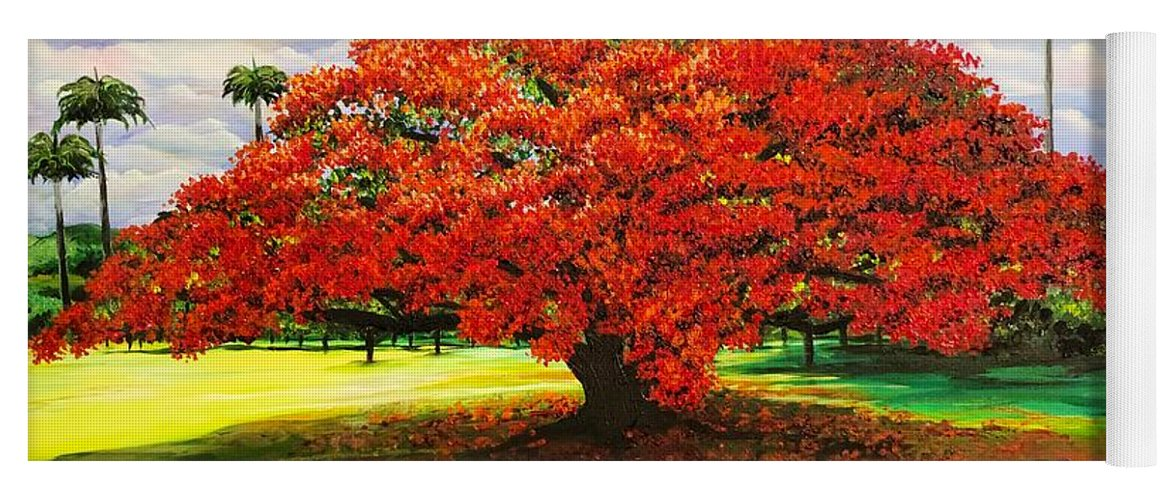 Flamboyant Tree Yoga Mat featuring the painting Flamboyant Ablaze by Karin Dawn Kelshall- Best