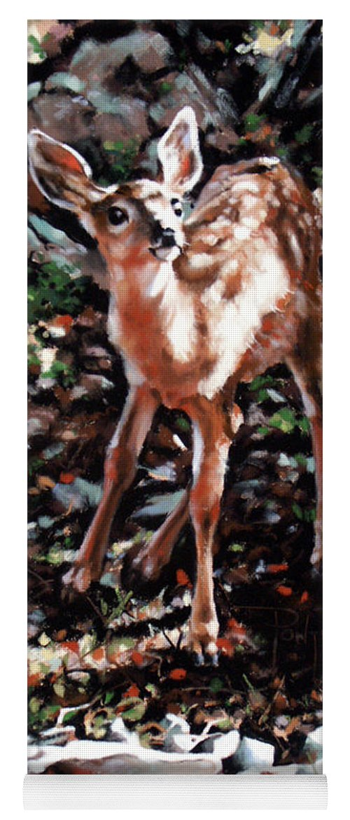 Deer Yoga Mat featuring the painting Garden Ornament by Dianna Ponting