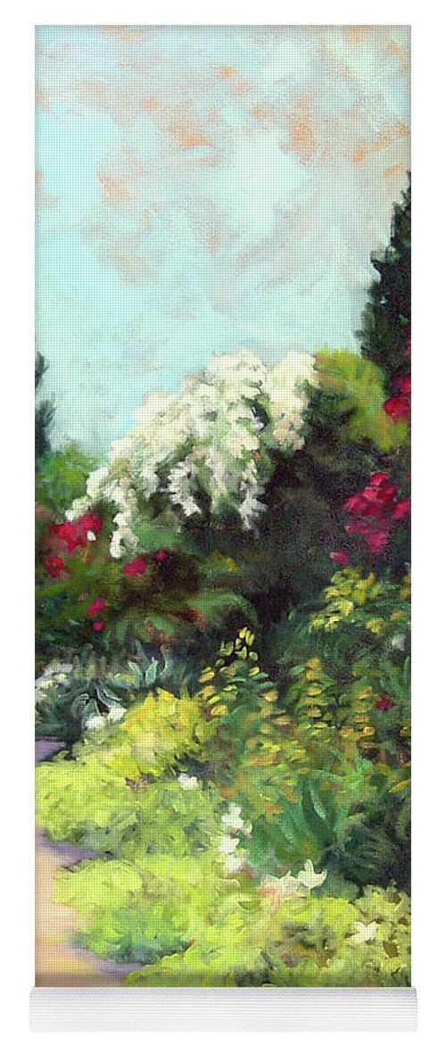 Landscape Yoga Mat featuring the painting Garden Path Giverney by Diane Martens