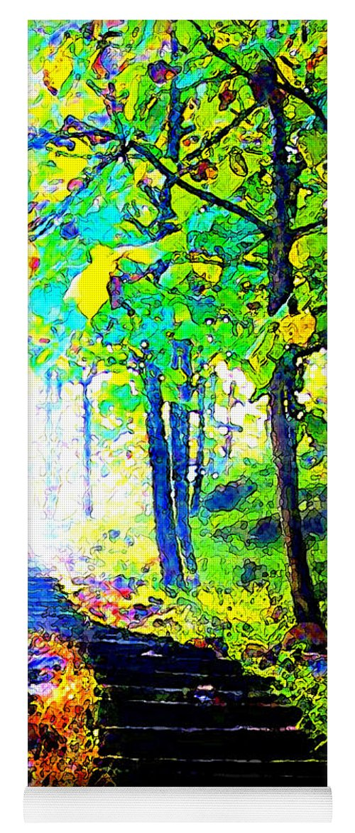 Landscape Yoga Mat featuring the digital art Garden Stairway Abstract by Linda Mears