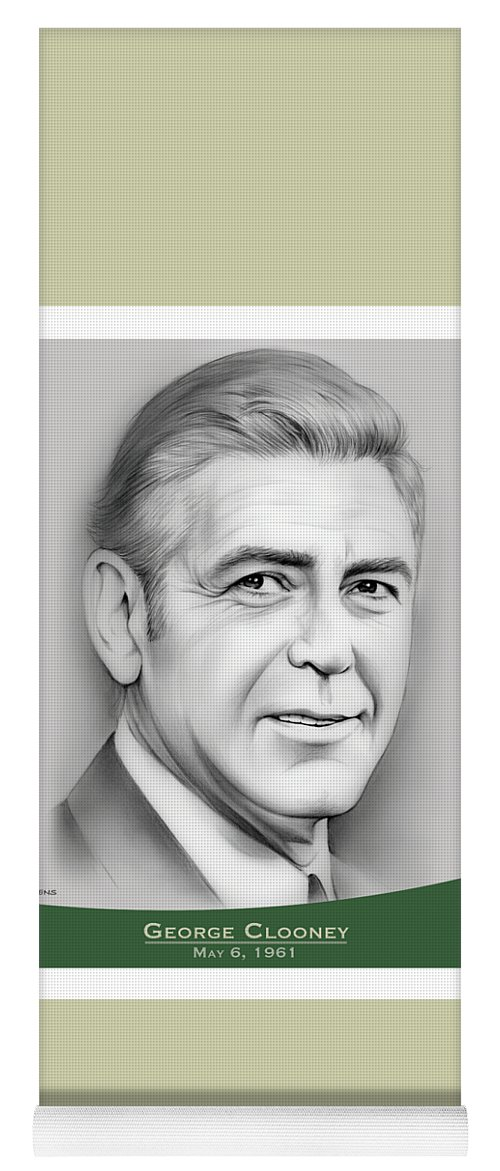 George Clooney Yoga Mat featuring the drawing George Clooney birthday by Greg Joens