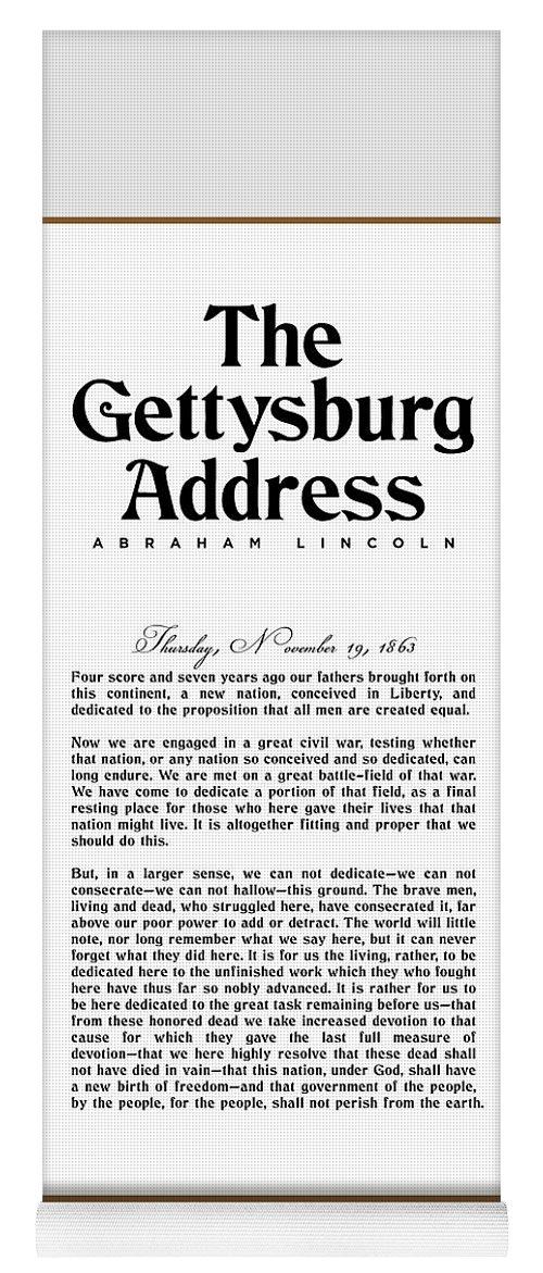 Gettysburg Address Yoga Mat featuring the digital art The Gettysburg Address Print - Abraham Lincoln Speech - American History Poster 01 by Studio Grafiikka