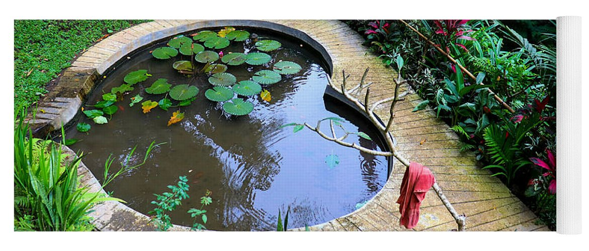 Heart Yoga Mat featuring the digital art Heart-shaped pond with water lilies by Worldvibes1