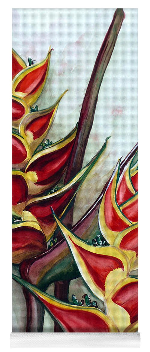 Caribbean Painting Flower Painting Floral Painting Heliconia Painting Original Watercolor Painting Of Heliconia Bloom  Trinidad And Tobago Painting Botanical Painting Yoga Mat featuring the painting Heliconia Tropicana Trinidad by Karin Dawn Kelshall- Best