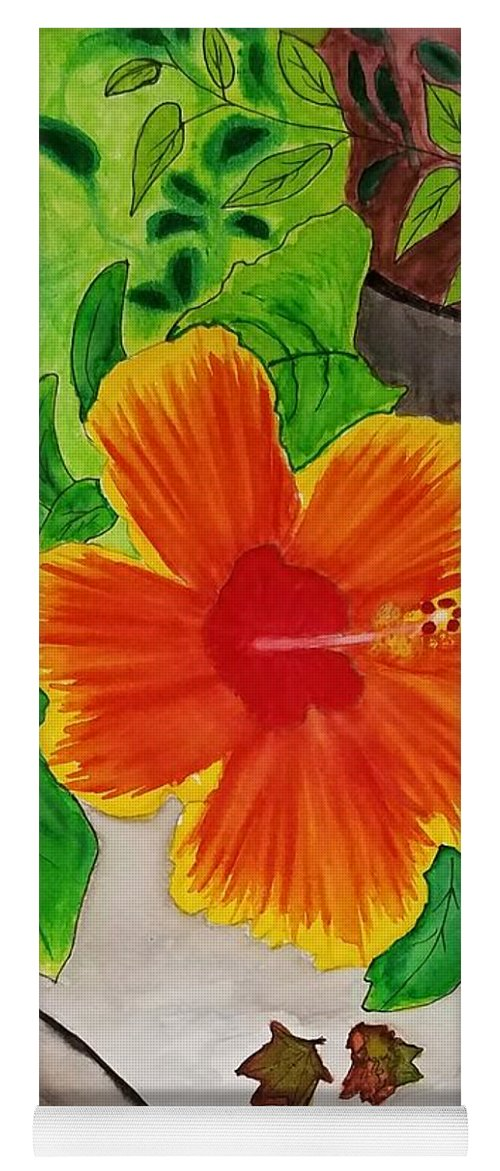 Flower Yoga Mat featuring the mixed media Hibiscus by Bonnie McKeegan