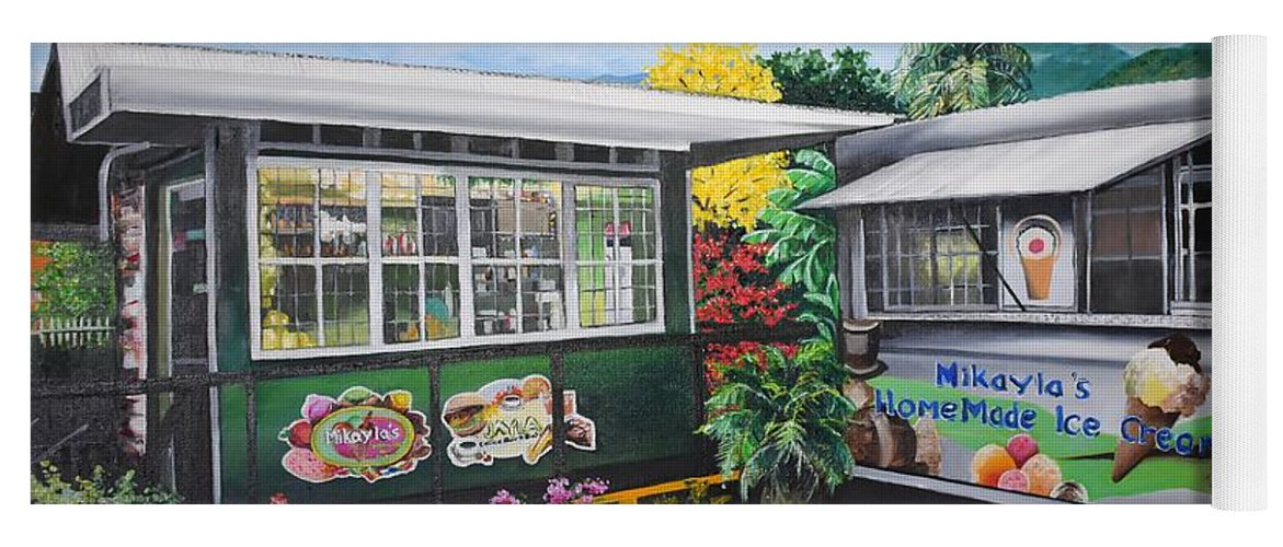 Houses Yoga Mat featuring the painting Ice Cream Parlor by Karin Dawn Kelshall- Best