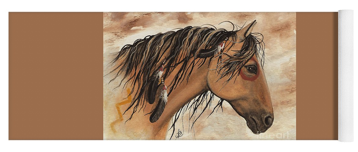 Curly Horse Yoga Mat featuring the painting Indian Pony Curly Horse by AmyLyn Bihrle