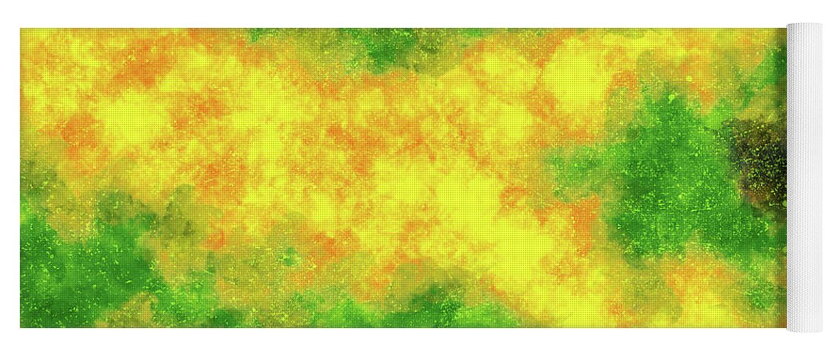 Jamaican Wind Yoga Mat featuring the mixed media Jamaican Wind - Contemporary Abstract - Abstract Expressionist Painting - Yellow, Green, Black by Renzo K
