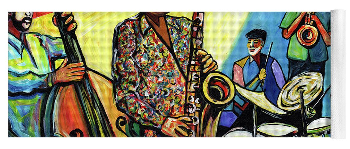 Abstract Art Yoga Mat featuring the painting Jazz at Timucua with Jeff Rupert Quartet by Everett Spruill