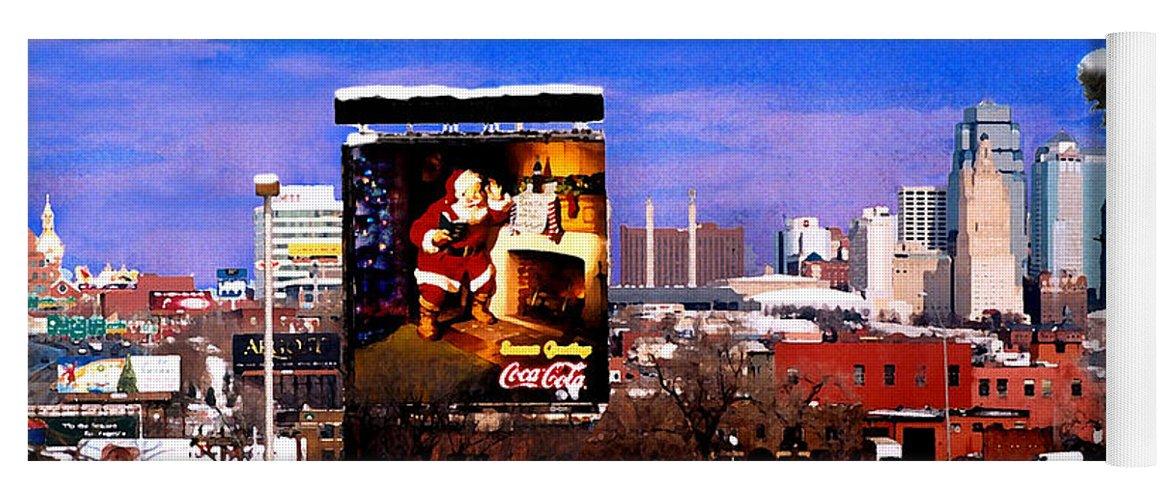 City Yoga Mat featuring the photograph Kansas City Skyline at Christmas by Steve Karol