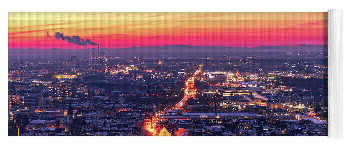 Karlsruhe Yoga Mat featuring the photograph Karlsruhe in winter at sunset by Hannes Roeckel