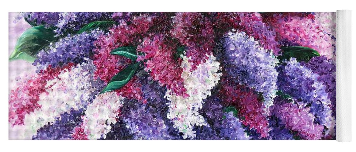 Lilacs Yoga Mat featuring the painting Lilac Time by Karin Dawn Kelshall- Best