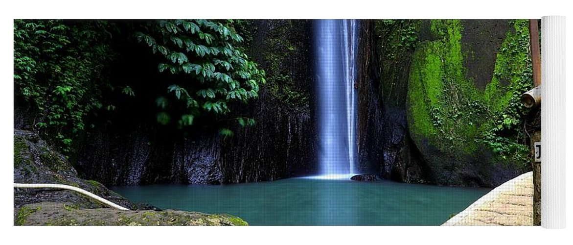 Waterfall Yoga Mat featuring the digital art Lonely waterfall by Worldvibes1